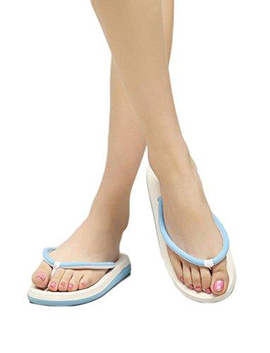 YOUJIA Damen Thongs Zehentrenner Einfaches Beach Gleitsicher Flip Sandalen Blau