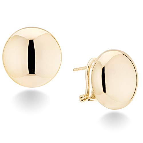 MiaBella 925 Sterling Silver Italian 18mm Flattened Button Bead Ball Omega Back Statement Stud Earring for Women, Choice of Yellow or White Gold Made in Italy