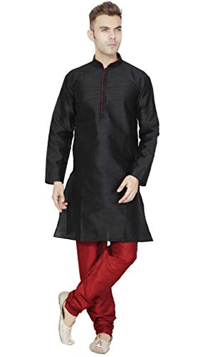 SKAVIJ Men's Tunic Kurta Pajama Set Party Wear Dress (Medium, Black)