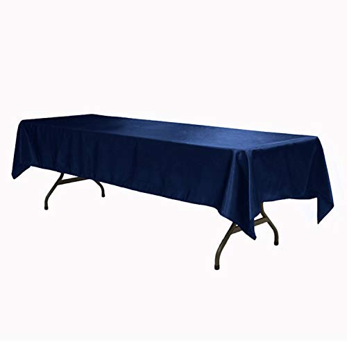 (145X305CM Satin Charmeuse Table Covers Tablecloth Overlay for Home Wedding Restaurant Party Christmas Satin Fabric Decoration,Navy,145X305CM)