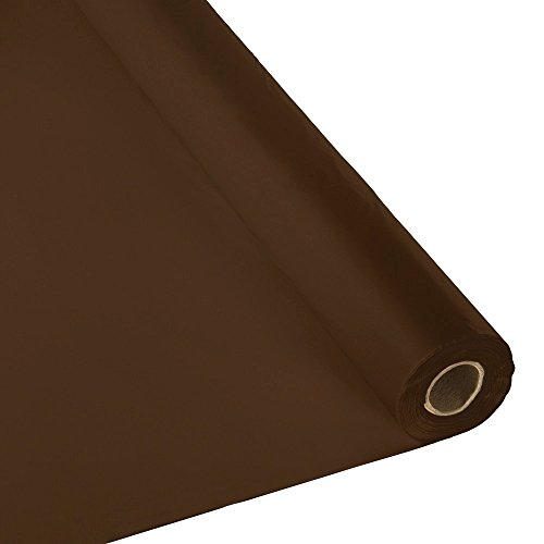 Plastic Party Banquet Table Cover Roll - 300 ft. x 40 in. - Disposable Tablecloth (Brown) (Brown Covers Table)