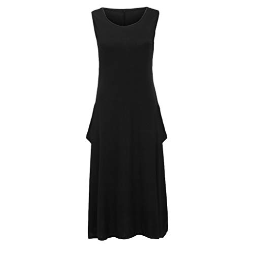 Sunhusing Ladies Solid Color Round Neck Sleeveless Pocket Loose Dress Loose Baggy Plus Size Romper Maxi Dress Black