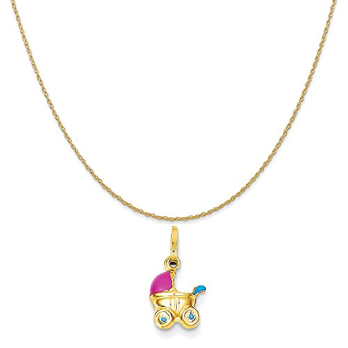Mireval 14k Yellow Gold Enameled 3-Dimensional Baby Carriage Charm on 14K Yellow Gold Rope Necklace, 18