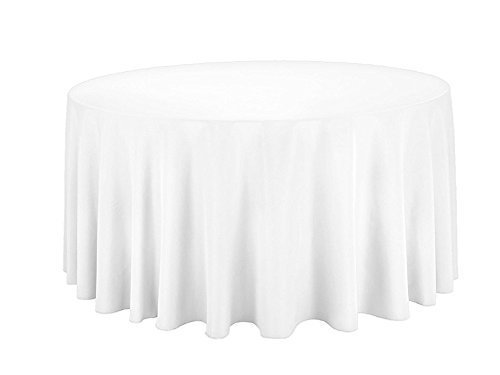 White Cotton Polyester Round Table Cloth Cover For Dining & Christmas Party 120 Inches (Pack Of 10)
