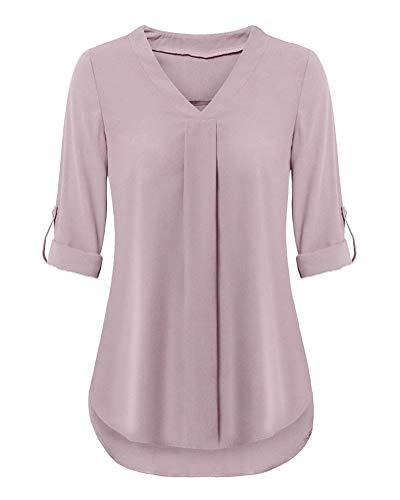 B Femmes Couleur Rose Blouse Chic Slim Casual Chemiser Shirts Lach Manches Longues Tops V de Minetom Col Tunique Unie Soie Mousseline Hauts RBAdqB