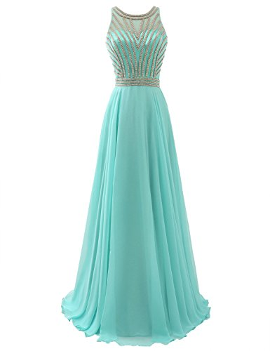 Sarahbridal Juniors A-line Scoop Long Chiffon Prom Dress Evening Gown with Beading Auqa 2019 US2