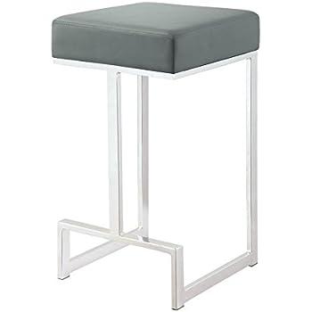 Amazon Com Tov Furniture Ferrara Stainless Steel Barstool