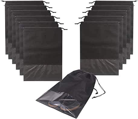 Grey Portable Large Shoe Organizer Shoe Storage Bag Waterproof Dust-Proof Shoe Storage Bags Cases with Transparent Windows for Men and Women 16 Pcs Travel Shoe Bags