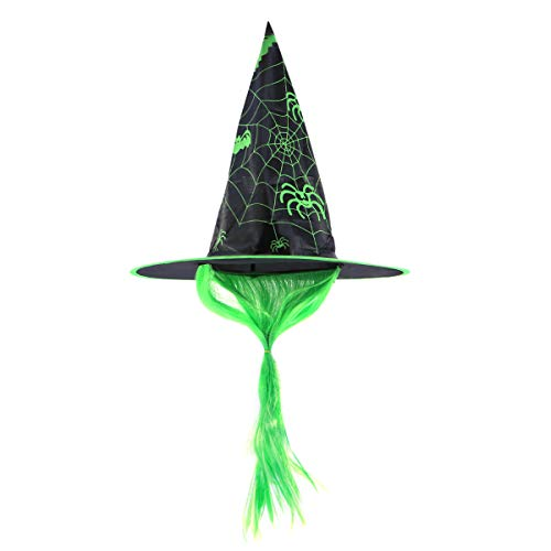 BESTOYARD Halloween Hat Witch Dress Up Cap Wig Hats Makeup Props for Cosplay Party Festival Masquerade (Green)