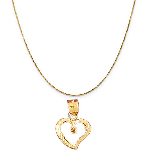 14k Yellow Gold Heart with Mounting Pendant on a 14K Yellow Gold Curb Chain Necklace, 20