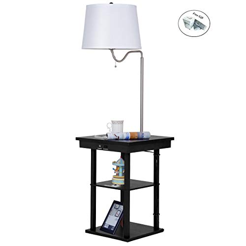 Floor Lamp Swing Arm Lamp Built in End Table w/Shade 2 USB Ports Living Room Only by eight24hours + Special Gift