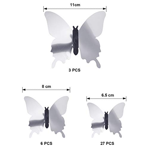 BBTO 48 Pieces DIY Mirror Butterfly Combination 3D Butterfly Wall Stickers Decals Home Decoration (Silver) 2