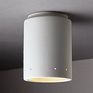 (Justice Design CER-6105-TERA Flush-mount Cylinder W/Perfs, Choose Finish: Terra Cotta Finish (Smooth Faux), Choose Lamping Option: Standard Lamping)