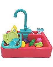 Kids Aanrecht Speelgoed Set Educatieve Geschenken Fantasiespel Speelgoed voor Jongens Meisjes Simulatie Vaatwasser Stromend Water Werken Kraan & Afvoer