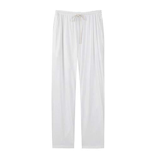 (HTHJSCO Collection Women's Cotton Pull-on Pant with Elastic Waist, Wide Leg Palazzo Pants Jeans Trousers (White A, M))