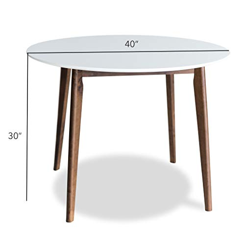 Edloe Finch Dakota Mid-Century Modern 5 Piece Round Dining Table Set for 4, White Top by Edloe Finch (Image #6)