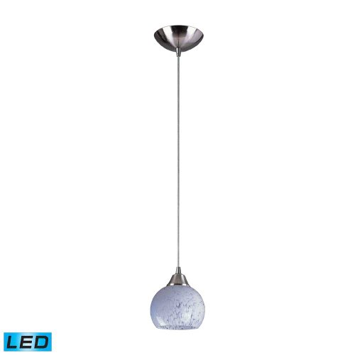 Elk 101-1SW-LED Mela 1-LED Light Pendant with Snow White Glass Shade, 6 by 6-Inch, Satin Nickel - Mela Satin