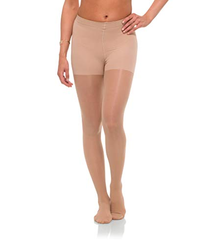 Jomi Compression Pantyhose Women Collection, 15-20mmHg Sheer Closed Toe 176 (XX-Large, Natural)
