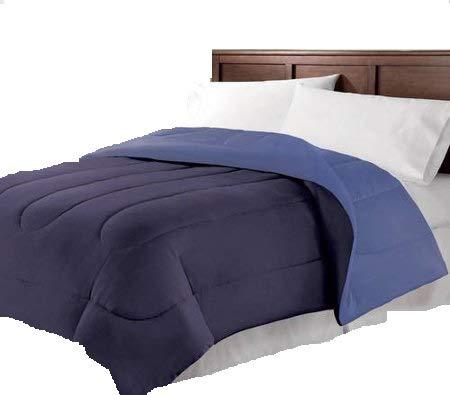 Navy Blue Reversible Microfiber Full/Queen Comforter Bedding, Great for College Dorm