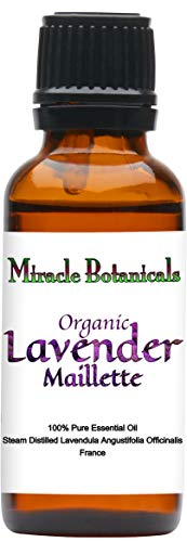 Miracle Botanicals Organic Maillette Lavender Essential Oil - 100% Pure Lavandula Angustifolia Officinalis - 10ml or 30ml Sizes - Therapeutic Grade - French Maillette 30ml