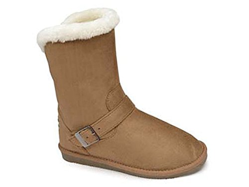 Ladies Red Rock Flat Faux Fur Lined Suede Fashion Thermal Mid Calf Boots Size 3-8 933:Chestnut RFl7EKWI