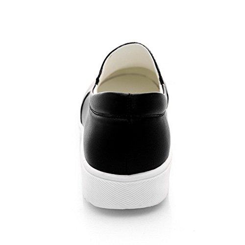 Amoonyfashion Donna Tira Su Tacchi Bassi Pu Colore Assortito Tacco Chiuso Pompe-scarpe Nere