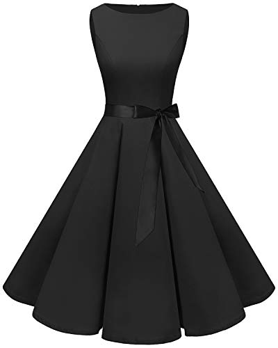 Bbonlinedress Women's 1950s Audrey Summer Vintage Rockabilly Swing Dress Black S