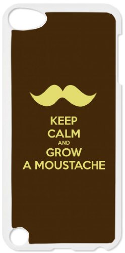 Keep Calm and Grow a Mustache - White plastic snap on case - for the Apple iPod iTouch 4th Generation.