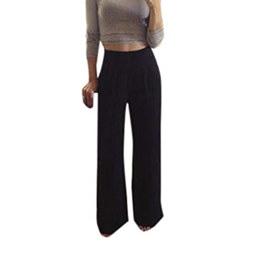(Realdo Women Solid Long Trousers, Ladies Casual High Waist Wide Leg Acrylic Pants(Medium,Black))