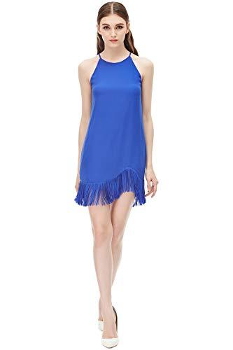 Zebra Fringe - Naked Zebra Women's Laser Cut Fringe Dress Capri Blue