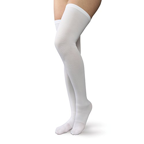 Therafirm Anti-Embolism Open-Toe Thigh Highs with Mild (18mmHg) Compression - 2X-Large - White