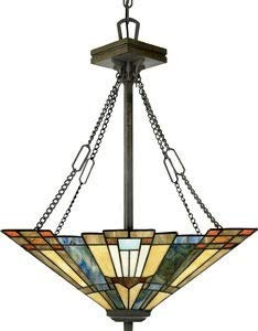 26 Inch Wide Pendant Light - Quoizel TFIK2817VA Inglenook Tiffany Bowl Pendant Lighting, 3-Light, 300 Watts, Valiant Bronze (26
