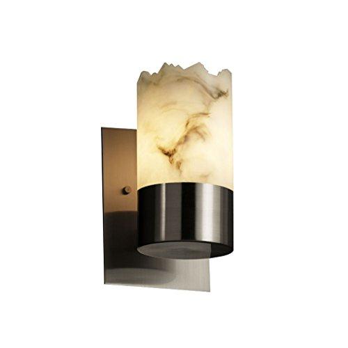 Justice Design Group - LumenAria Collection - Dakota Uplight Wall Sconce - Cylinder with Broken Rim - Brushed Nickel Finish
