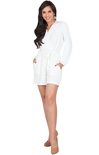 KOH KOH Womens Sexy Long Sleeve Solid Work Stretchy Pockets Casual Sexy Shorts Party Spring Summer Pants Suit Playsuit Playsuits Romper Jumpsuit Jumpsuits, Ivory White L - Suit Womens Shorts White