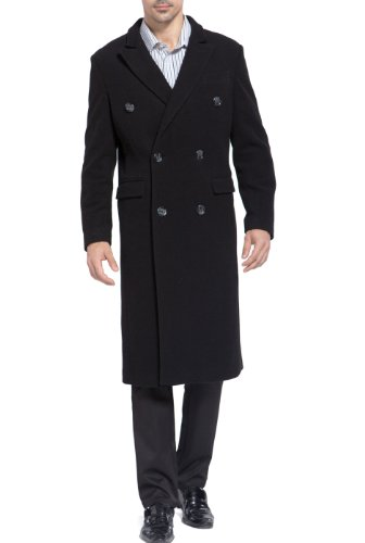 BGSD Men's Josh Wool Blend Double Breasted Walking Coat, Black, XX-Large