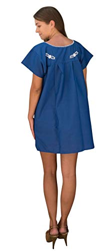 Liliana Cruz Embroidered Mexican Peasant Mini Dress (Blue with White Size Medium) by Liliana Cruz (Image #2)