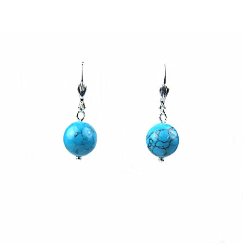 Turquoise Blue Earrings - Composed Blue Turquoise Round Bead Leverback Earrings Assembled in the U.S.A.