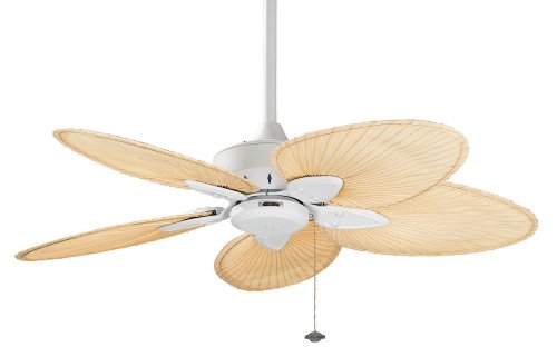 harga Fanimation FP7500MW Windpointe Ceiling Fan, Matte White Finish, 5 18-Inch Natural Palm Leaf Blades Hargadunia.com