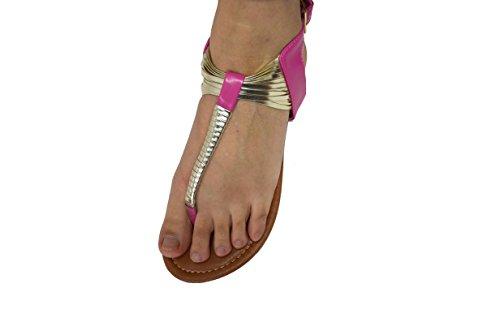 Kvinna Mode Studded Gladiator Strappy Rem Sandaler T Rem Roman Gladiatorsandaler 6387 Fuchsia