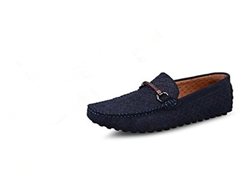 HAPPYSHOP(TM) Mens Swede Leather Moccasin Loafers Driving Shoes Comfort Slip-on Penny Loafer Flats Dark Blue (Style B) GgroEiRW