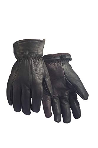 North Star Black Adult Size Small Deerskin Fleece Lined Premium Leather Motorcycle Gloves