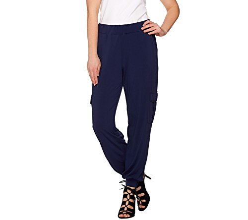 Lisa Rinna Collection Banded Bottom Cargo Pants A275985  Navy  3X