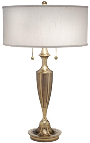 (Stiffel White and Burnished Brass Table Lamp)