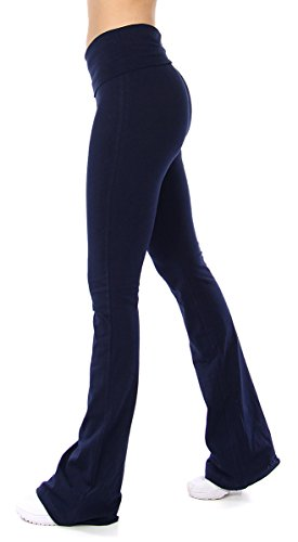 - SERENITA Women Yoga Pants Boot Cut   Cotton Foldover Highwaist Workout Pants for Women, Full and Capri Size   95% Cotton