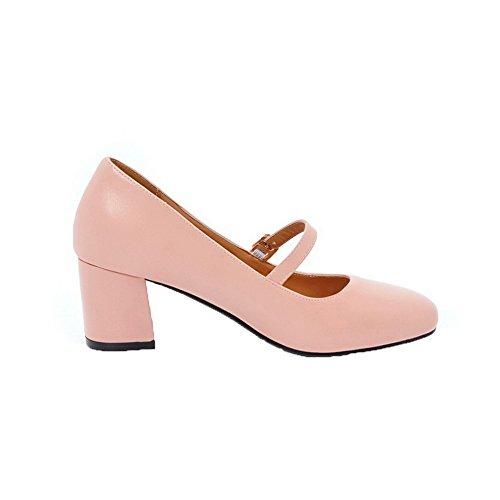 punta de para Heels Zapatillas sólido Kitten PU corte mujer Rosa con cerrada Odomolor TgRIq