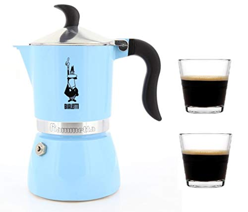 - Bialetti Moka Express Stovetop Percolator (3 Cup, Blue with 2 Cup)