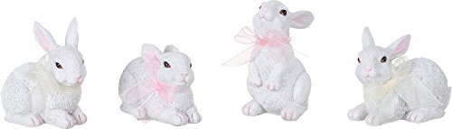 Set of 4 Spring White Glitter Bunny Rabbit Figures Standing Decorations