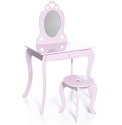 Milliard Kids Vanity Makeup Table and Chair Set, Pretend Beauty Make Up Stool Play Set for Children, Pink with Mirror