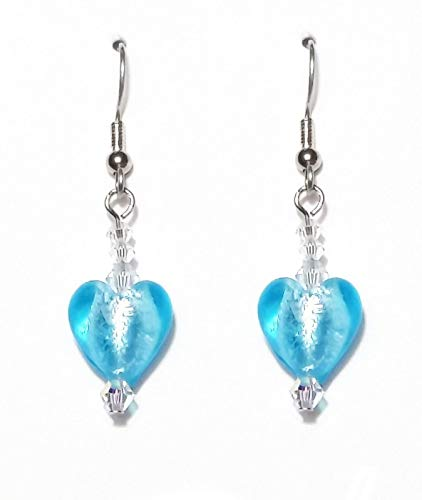 Aqua Blue Murano Glass Valentine Heart & Swarovski Crystal Drop Earrings on Surgical Steel Wire