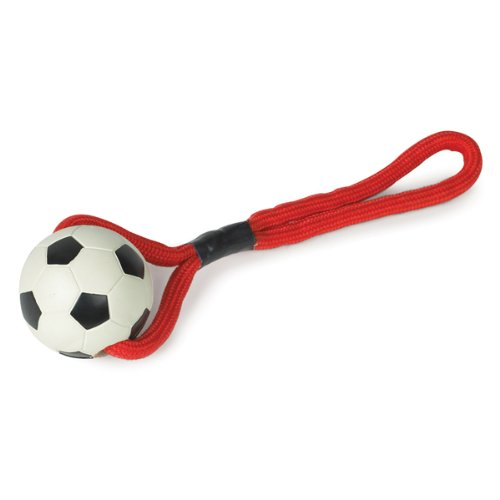 Zanies Rope/Rubber Sports Tug Dog Toy, Soccer Ball, My Pet Supplies